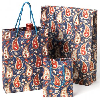 Recycled Cotton Handmade Navy Paisley Print Paper Gift Bag - Medium