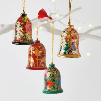 Papier Mache Classic Bell Decoration Set of 4