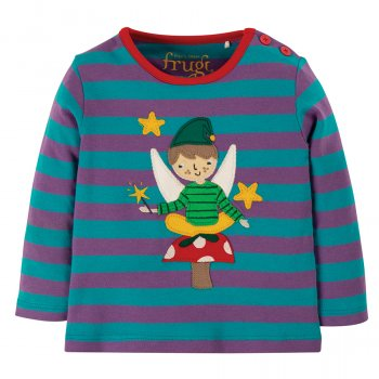 Frugi Thistle Stripe Fairy Button Applique Top