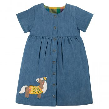 Frugi Chambray Horse Romilly Reversible Dress