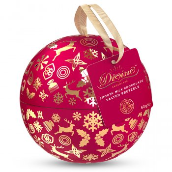 Divine Chocolate Covered Pretzel Nibbles Christmas Tin Bauble - 60g