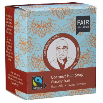 Fair Squared Coconut Hair Soap with Cotton Soap Bag - Greasy Hair - 2 x 80g