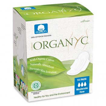 Organyc Organic Cotton Moderate Flow Pads - Pack of 10