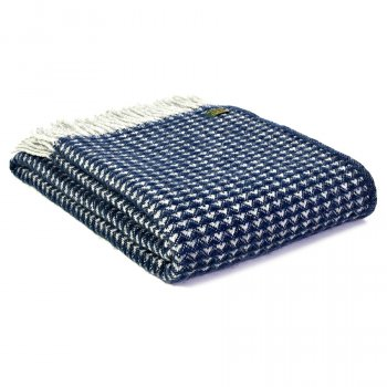 Pure New Wool Treetop Throw  - Navy