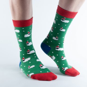 Doris & Dude Green Sheep Bamboo Christmas Socks - UK3-7