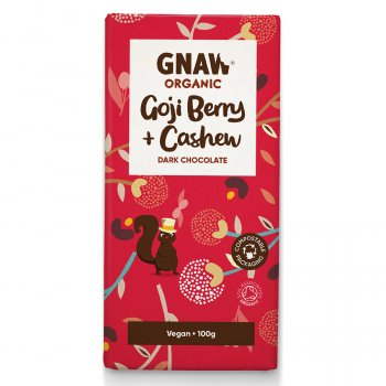 Gnaw Organic Goji Berries & Cashew Dark Chocolate - 100g
