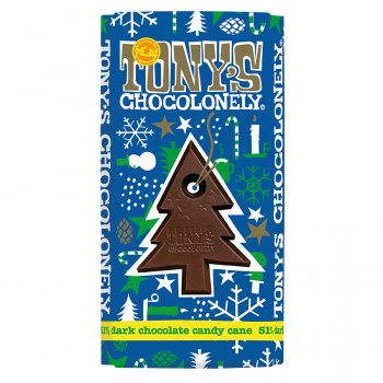 Tonys Chocolonely 51 percent  Dark Mint Chocolate with Candy Cane - 180g