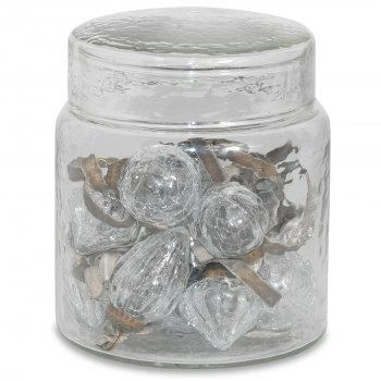 Adisa Clear Crackle Bauble Jar - Set of 16