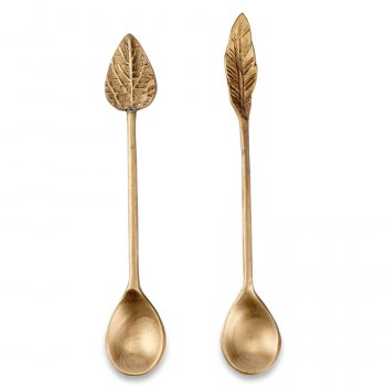 Antique Brass Leaf Spoons -  Set of 2