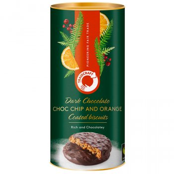 Traidcraft Dark Chocolate Coated Chocolate Chip & Orange Biscuits - 200g