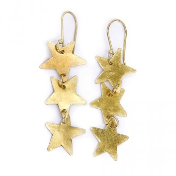 People Tree Brass Stardrop Earrings