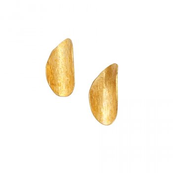 People Tree Brass Curled Leaf Earrings