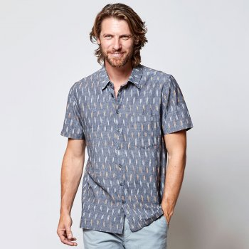 Nomads Grey Ikat Short Sleeve Shirt