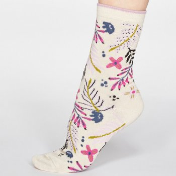 Thought Cream Nelly Floral Bamboo Socks - UK 4-7