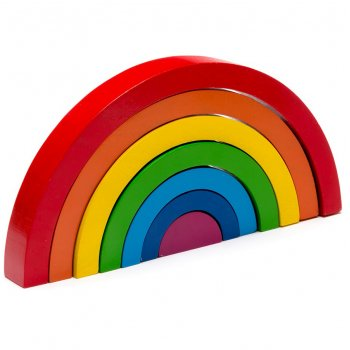 Bright Rainbow Wooden Stacking Puzzle