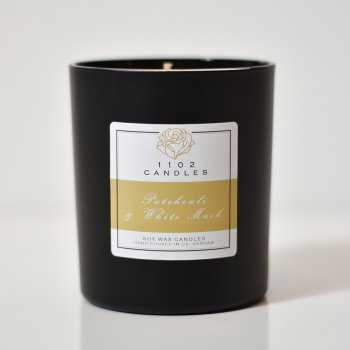 1102 Candles Patchouli & White Musk Scented Candle - Black