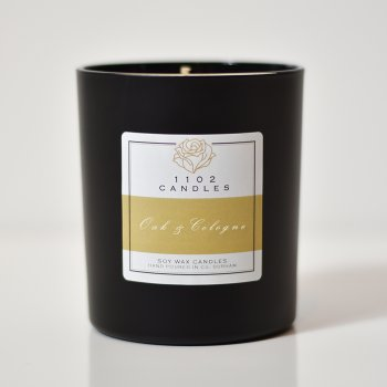 1102 Candles Oak & Cologne Scented Candle - Black