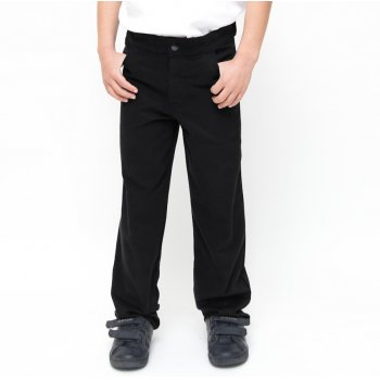 Boys Slim Fit School Trousers With Adjustable Waist - Black - 11yrs