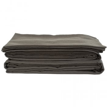 The Flax Sack Organic Linen Duvet Cover Set - Olive Grey - Double