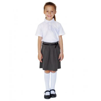 Girls Drop Waist School Skirt With Stylish Bow - Grey - 3yrs Plus