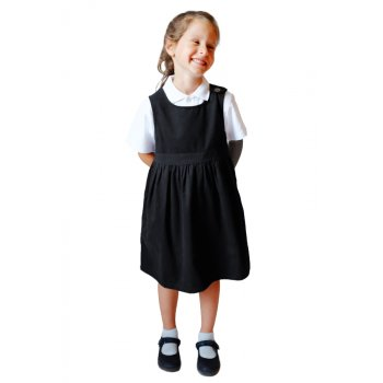 Black Pinafore with Coconut Shell Button - 4yrs