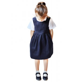 Navy Pinafore with Coconut Shell Button - 4yrs Plus
