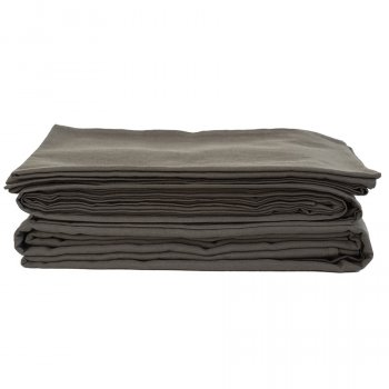 The Flax Sack Organic Linen Flat Sheet - Olive Grey - Double