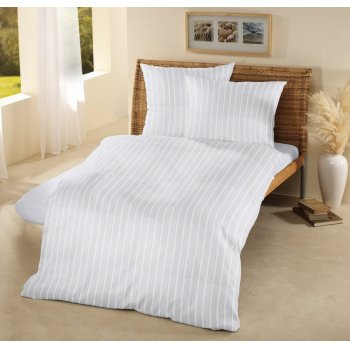 Fair Trade & Organic White Satin Stripe Super King Pillow Case-set of 2